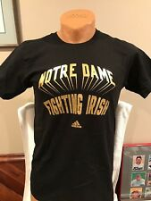 SWEET Notre Dame Fighting Irish Men's Md Black Adidas Cotton T-Shirt, NEW&NICE!