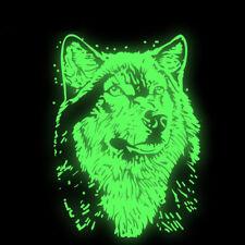 "(#170) GLOW IN THE DARK WOLF 12"" x 8-1/2"" (30 x 22mm) iron on Luminous Transfer"