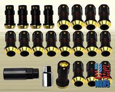 Gold / Gunmetal JDM Extended Dust Cap Steel Lug Nuts Wheel Rim Tuner M12 x 1.5