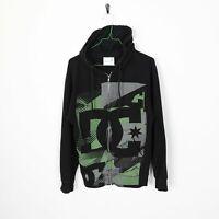 Vintage DC Big Logo Zip Up Hoodie Sweatshirt Black | Small S