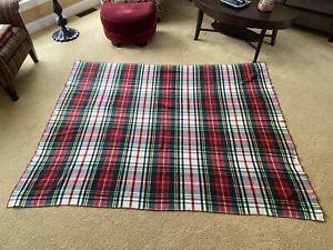 "Vintage LL Bean Plaid Wool Camp Blanket 67"" x 82"" 1960's / 1970's Cursive Label"