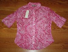 NWT Womens JONES NEW YORK Pink Paisley Roll Tab Sleeves Light Shirt Small $59