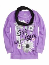 NWT Justice Girls Style Icon Top Tee w/ Sequin Infinity Scarf UPick Sz NEW