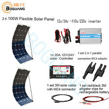 200W Solar System Kit Module 2X 100w Flexible Panel for 12v Battery Car Charge