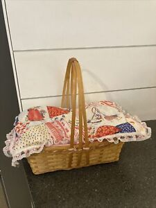 "Vintage Baby Doll Bed Basket lined with Holly Hobbie vintage fabric 12""x7 1/2"""