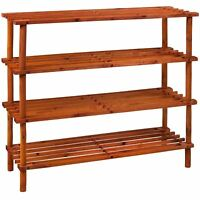 4 Tier Slated Shoe Rack Walnut Wooden Storage Stand Organiser By Home Discount