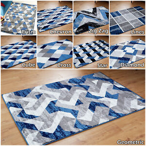 Quality Blue Grey Rugs Large Area Modern Clearance Geometric Living Room Rugs