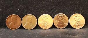 1950-D (RB UNC) , 1956(P), 2019-P, 2020-P and D cents
