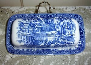 Churchill Currier & Ives MILL DAM 1/4 Pound Blue & White Butter Dish with Lid