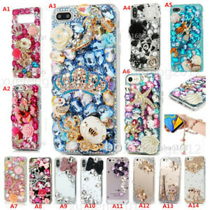 Bling Diamonds Soft phone Cases & wrist Crystals flower strap For iPhone Samsung