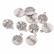10pcs Tree and Word Beads Tibetan Silver Charms Pendant Fit DIY 15x12mm