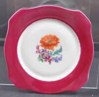 """Vintage P.T. Tirschenreuth Bavaria Square Salad Plate Multi Floral 8"""" P18"""