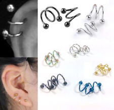 2pc 16G Punk Surgical Steel Spiral Helix Ear Stud Lip Nose Ring Body Piercing