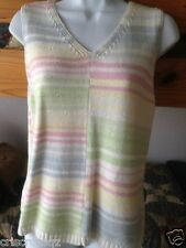 Liz Claiborne * WHITE slvls v-neck PASTEL RAINBOW Stripes KNIT Sweater TANK * S
