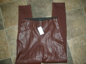 NEW Ann Taylor Petite 2P Maroon Pants Feels like Fake Leather on front (3)