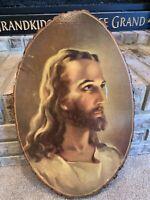 LARGE VINTAGE SOUVENIR WOOD SLICE JESUS SEYMOUR , INDIANA