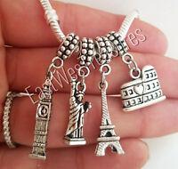 Travel New York London Paris Rome pendant-for bracelet necklace women girls her