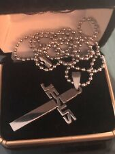 in Stainless Steel. Beautiful & masculine! Men's Jesus Cross necklace 21� long