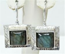 Gorgeous Sipalda Hammered Sterling Silver Labradorite Dangle Earrings
