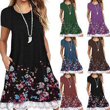 Women Summer Casual Short Sleeve T Shirt Crew Neck Floral Loose Lace Slip Dress
