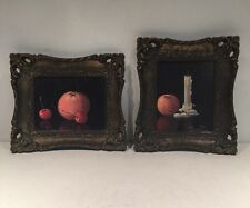 Pair Of Vintage Drained Art Pictures Signed Collectible By Turner Mfg Co