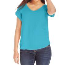 Hippie Rose Juniors' Loose-Fit V-Neck T-Shirt, Turquoise, Medium M
