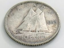 1949 Canada Ten 10 Cent Silver Dime Circulated Canadian George VI Coin I522