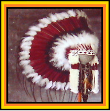 Genuine Native American Navajo Indian Headdress 36 inch SACRED MESA Burgundy