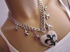 STRASS Collier Hals Kette Modekette Modeschmuck Silber Sterne Herz Fleur de Lis
