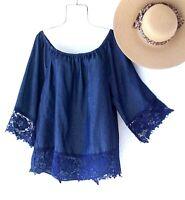 New~1X~Denim Crochet Lace Blouse Jeans Shirt Boho Country Plus Size Top~18/20