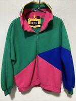 vtg 80s 90s ANDY JOHNS colorblock fleece jacket Full Zip Men's Small Green Pink