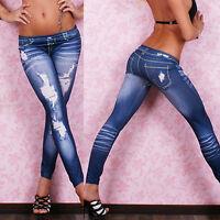 Trendy Women Stretch Elastic Slim Bleach Ripped Skinny Pencil Jeans Denim Pants