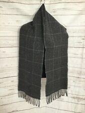 "Polo Ralph Lauren Men's Scarf Plaid Gray Wool Blend Fringe Edge Size 9.5""x62"""