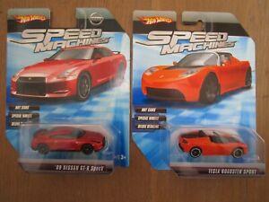 Hot Wheels Speed Machines Tesla Roadster Sport Nissan GT-R Spec-V Racing Car LOT