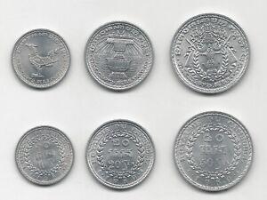 Cambodia Set 3 Coins 10, 20 & 50 Sen 1959  KM 54, 55, 56 UNC Uncirculated