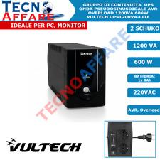 Gruppo di continuità 1200VA 600W UPS Offline Per PC DVR Vultech UPS1200VA-LITE