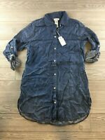 *Tommy Bahama Jeans women's Size Medium Button Down Shirt Tunic Long Sleeve Blue