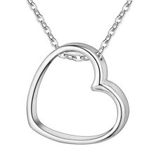 925 Hollow Heart Charm Necklace Sterling Silver Plated 45cm + Bag UK Womens