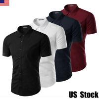 Luxury Mens Slim Fit Shirt Short Sleeve Stylish Dress Formal Casual T-shirt Tops