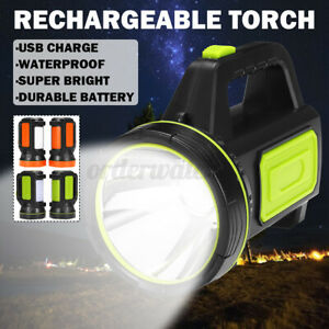 Sidelight LED Searchlight Spotlight USB Rechargeable Hand Torch Work Light Lamp