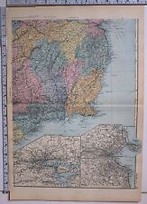 1891 ANTIQUE MAP ~ IRELAND SOUTH EAST ENVIRONS OF CORK DUBLIN WICKLOW WATERFORD