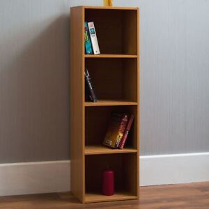 Oxford 4 Tier Cube Bookcase Display Shelving Storage Unit Wooden Stand Oak New