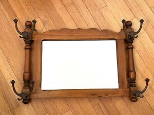 Vintage Wood Wall Mounted Coat & Hat Hooks Hall Mirror