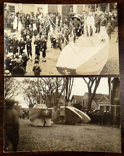 U.S. NAVY PARADE FLOAT SHIPS 2 Photo Postcards ca.1918 WWI