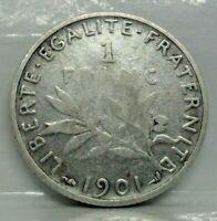 KM# 844.1 - 1 franc semeuse 1901 - B+ - Argent - monnaie France - N7233