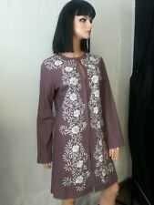 VTG Spiegel Mauve Purple Jacket  Coat Top Dress White Floral Embroidery Hooks 10