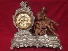 ANSONIA Clock Co. SHAKESPEARE Spelter Figure Clock Fancy 1880's