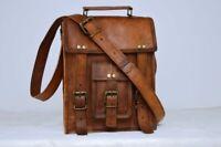 Men's Leather Vintage Messenger Shoulder Satchel Small Laptop School Bag