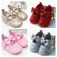 Newborn Baby Girl Embroidery Pram Shoes Infant BowKnot Dress Shoes 3-6 6-9 9-12M