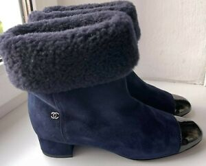 CHANEL SHORT BOOTS NAVY SHEARLING/SUEDE G 33088 Y 51196 0G378 SIZE 36.5 30C